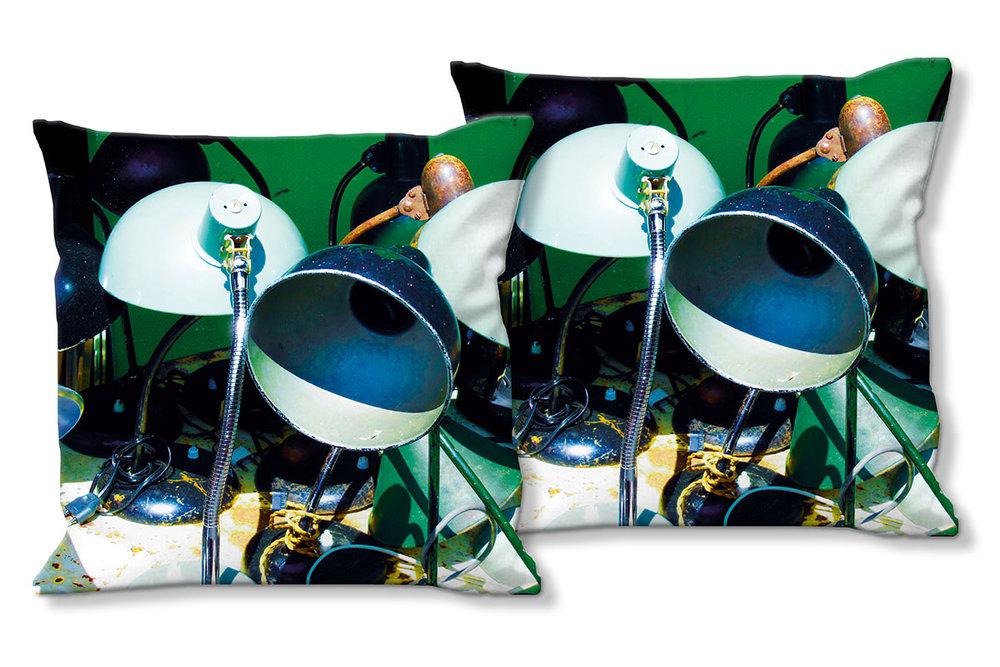 Deko Foto Kissen Set Retro Leuchte 40 X 40 Cm Premium Kissenhülle Zierkissen